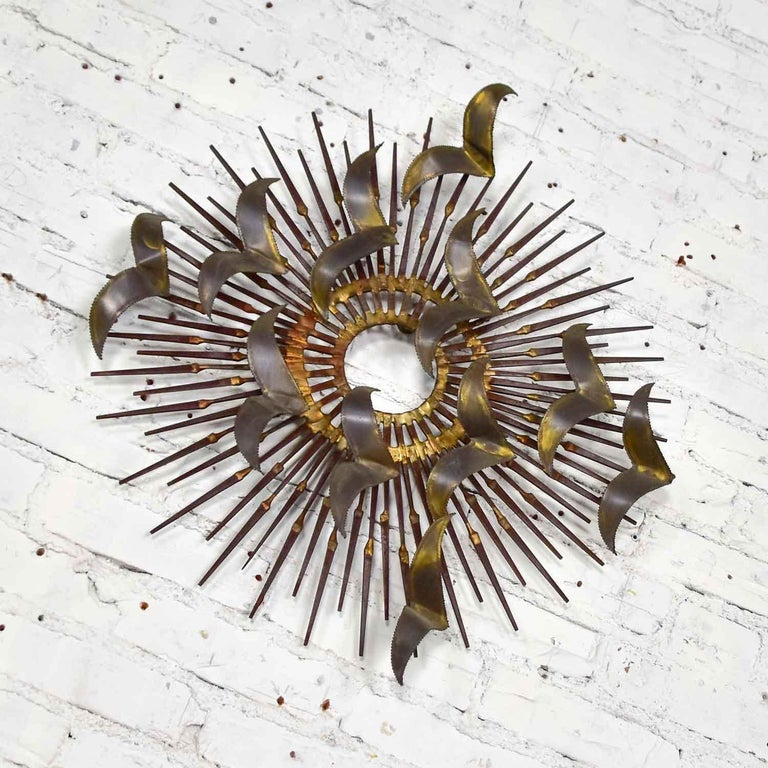 Brutalist Torch Cut Brass Birds on Starburst Nail Wall Art Style Seandale, Bowie or Jere For Sale