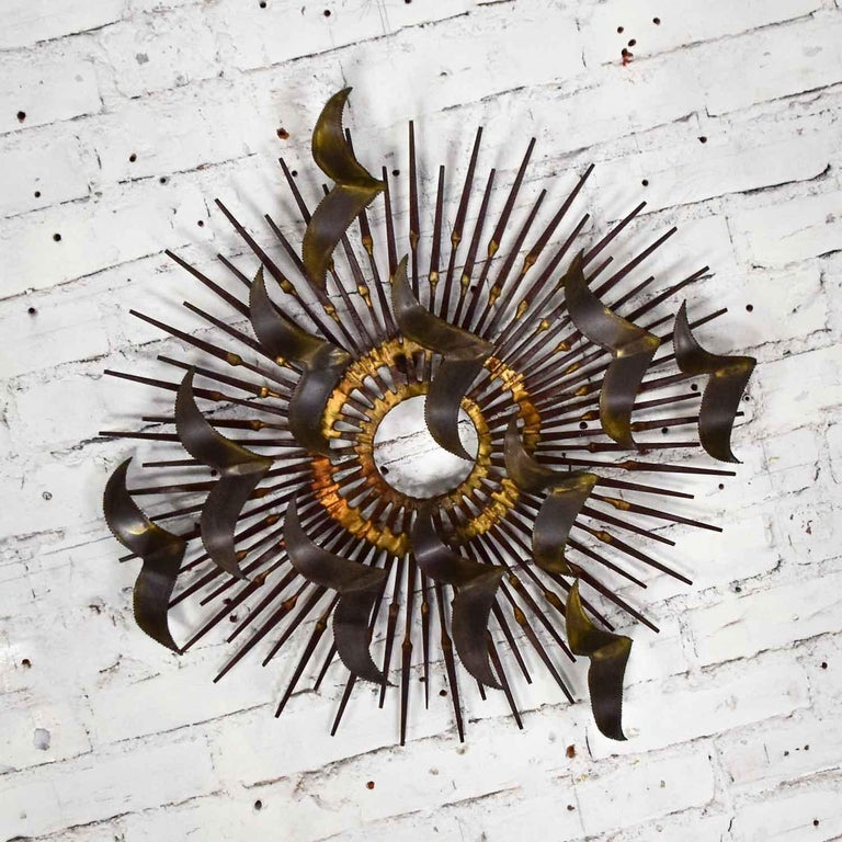 American Torch Cut Brass Birds on Starburst Nail Wall Art Style Seandale, Bowie or Jere For Sale
