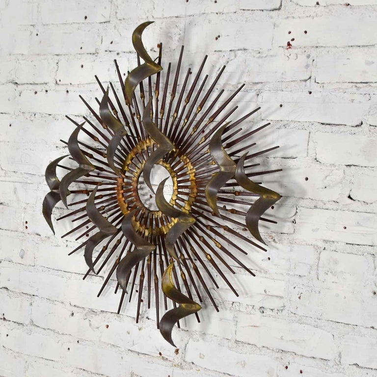 Torch Cut Brass Birds on Starburst Nail Wall Art Style Seandale, Bowie or Jere In Good Condition For Sale In Topeka, KS