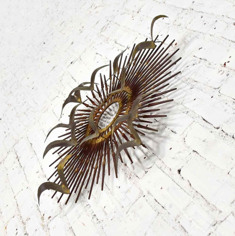20th Century Torch Cut Brass Birds on Starburst Nail Wall Art Style Seandale, Bowie or Jere For Sale