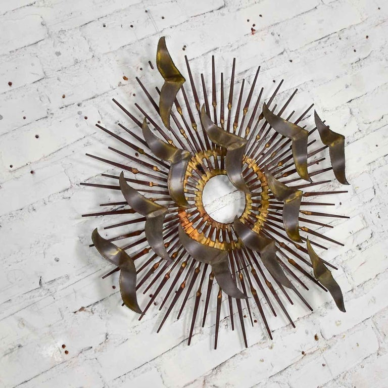 Torch Cut Brass Birds on Starburst Nail Wall Art Style Seandale, Bowie or Jere For Sale 1