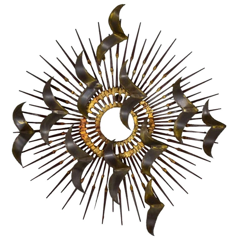 Torch Cut Brass Birds on Starburst Nail Wall Art Style Seandale, Bowie or Jere For Sale