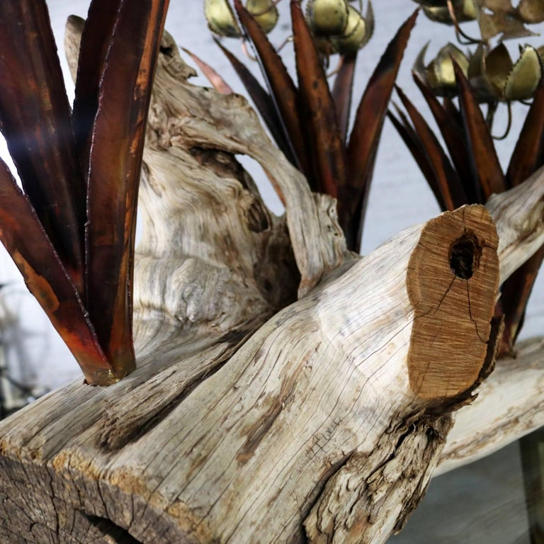 Torch Cut Brutalist Floral Copper and Brass Sculpture on Driftwood For Sale 10