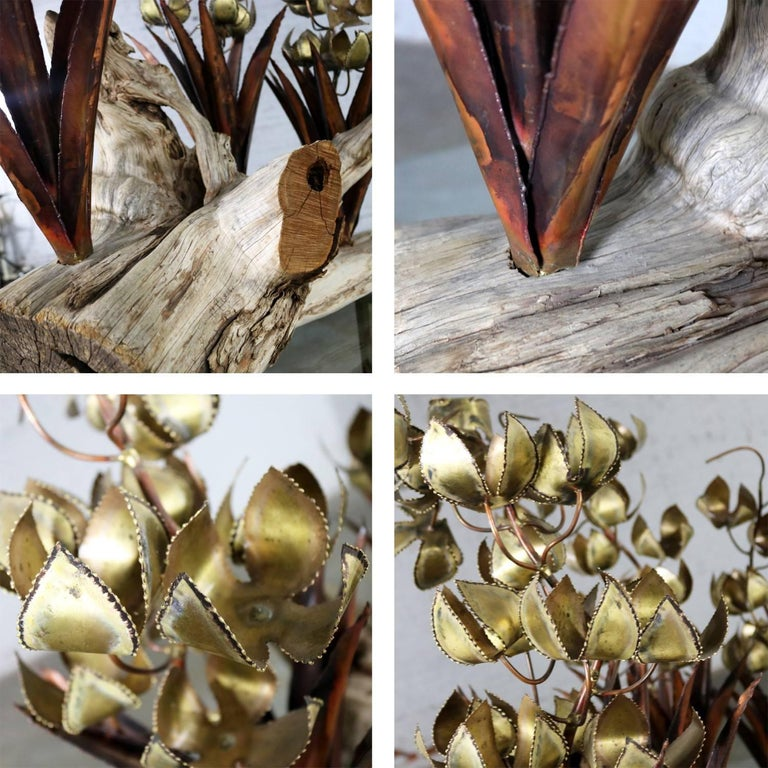 Torch Cut Brutalist Floral Copper and Brass Sculpture on Driftwood For Sale 12