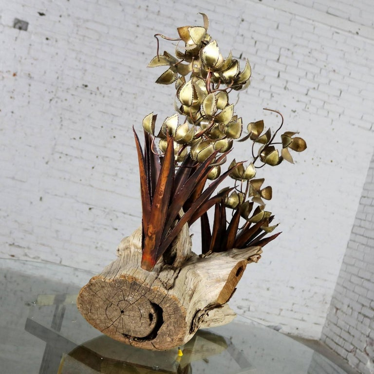 20th Century Torch Cut Brutalist Floral Copper and Brass Sculpture on Driftwood For Sale