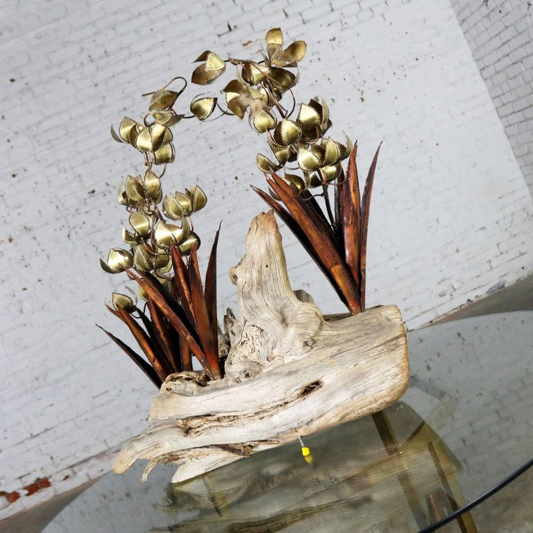 Torch Cut Brutalist Floral Copper and Brass Sculpture on Driftwood For Sale 1