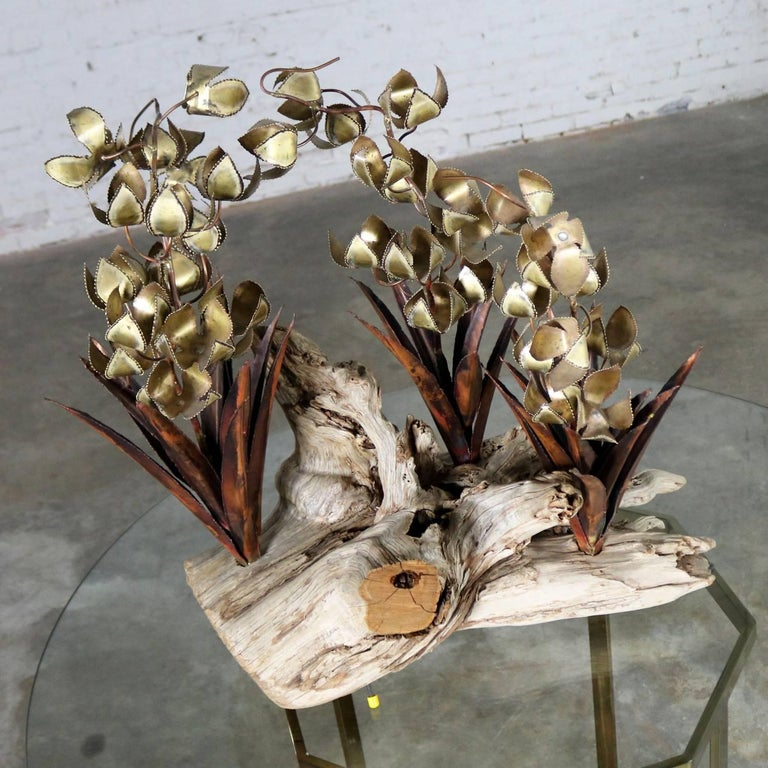 Torch Cut Brutalist Floral Copper and Brass Sculpture on Driftwood For Sale 2