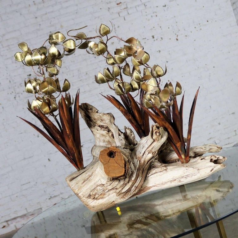 Torch Cut Brutalist Floral Copper and Brass Sculpture on Driftwood For Sale 3