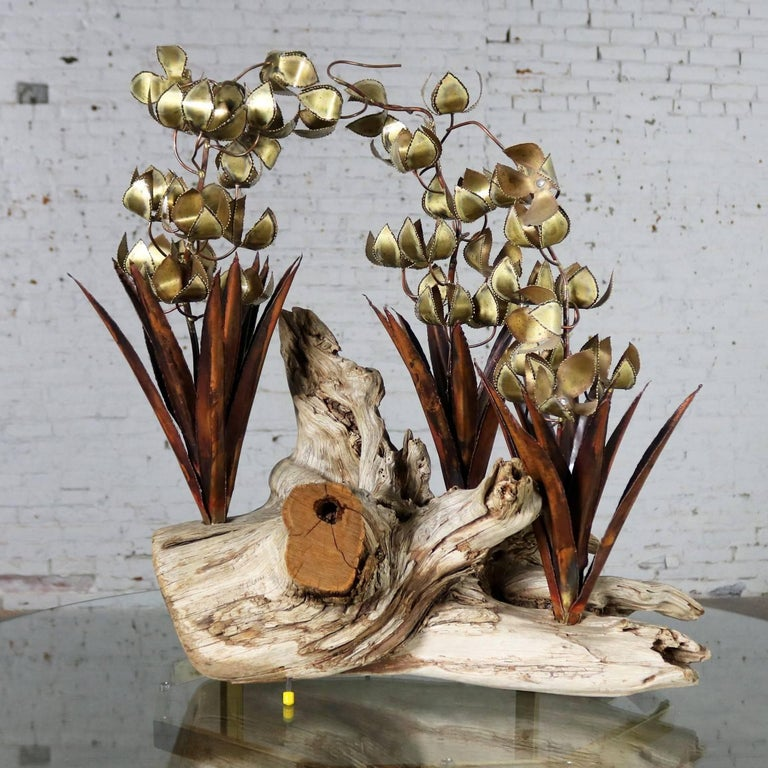 Torch Cut Brutalist Floral Copper and Brass Sculpture on Driftwood For Sale 4