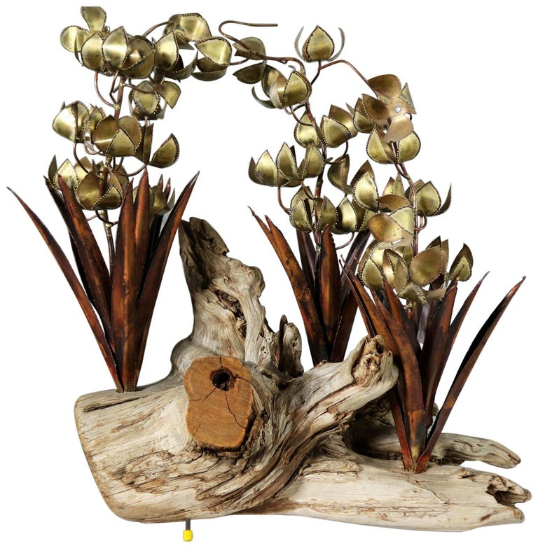 Torch Cut Brutalist Floral Copper and Brass Sculpture on Driftwood For Sale