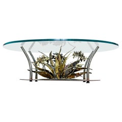 Torch Cut Brutalist Silas Seandel Coffee Table, Underwater Seascape, 1970s