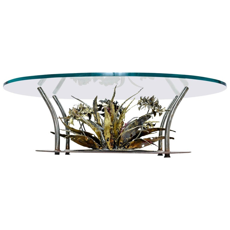 Torch Cut Brutalist Silas Seandel Coffee Table, Underwater Seascape, 1970s For Sale