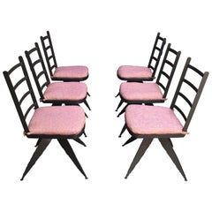 Torch Cut Steel Brutalist Dining Chairs