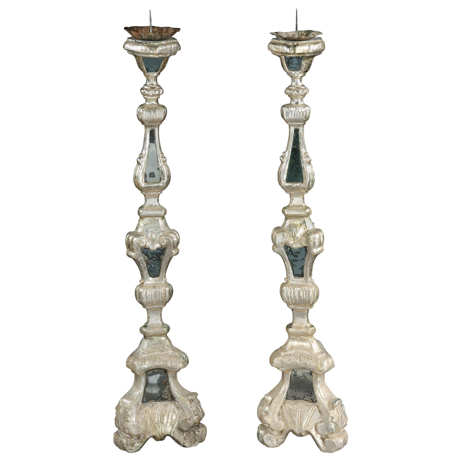 Torcheres Candlestands Pair Silver-Gilt Mirror Plate Italian Rococo