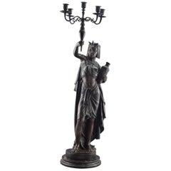 Torchière, Egiptian Lady with Candelabrum, Bronze