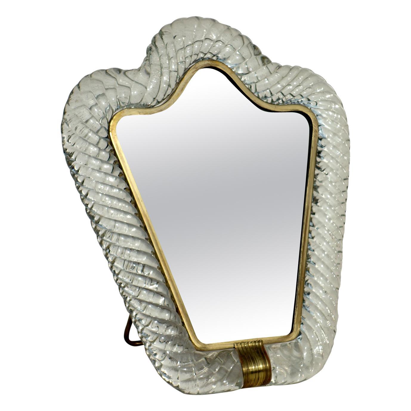 """Torchon"" Murano Art Glass Mirror, Signed Barovier-Toso Murano, 1950s"