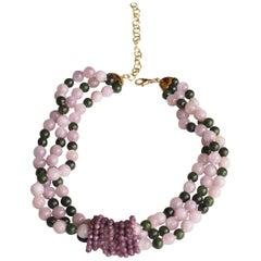 Torchon Necklace Opal Jade 18 Karat Gold