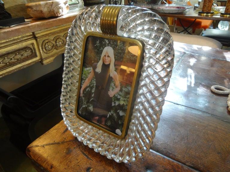 Italian Treccia Twisted Murano Glass Picture Frame by Venini For Sale