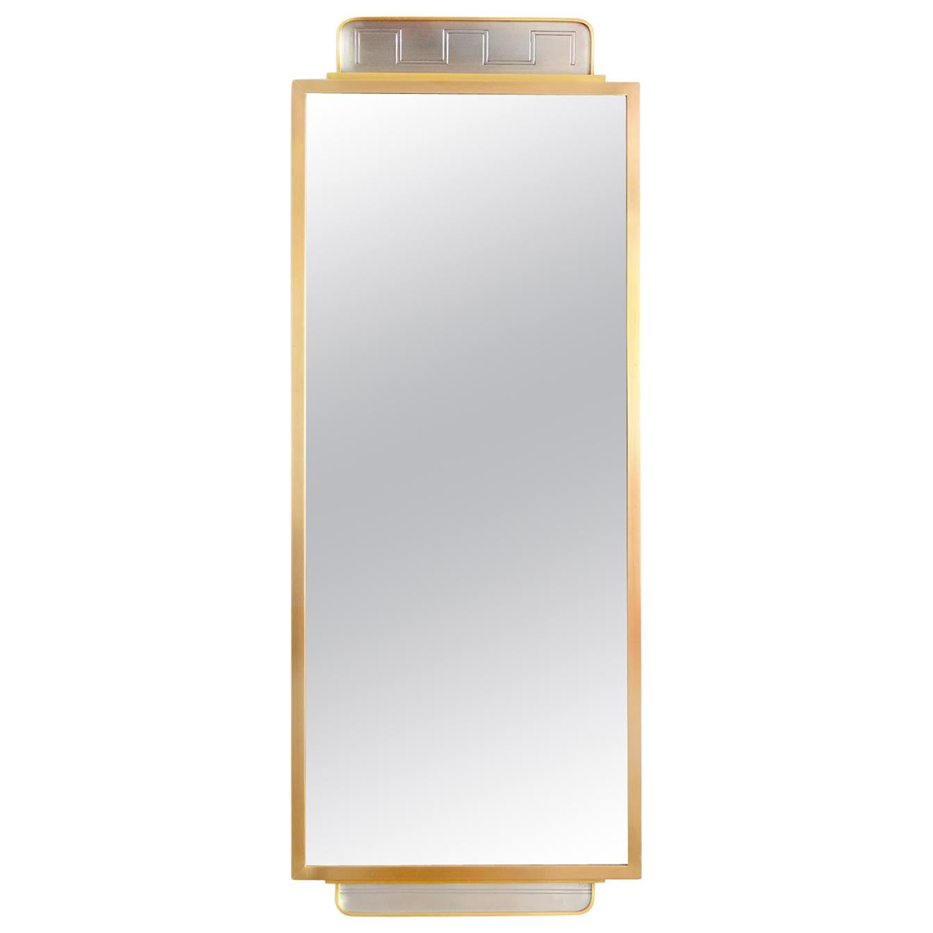 Tore Eldh Swedish Grace, Art Deco, Brass and Pewter Mirror, 1920's