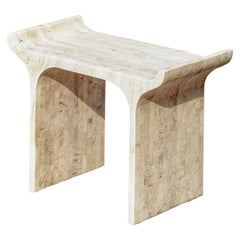 TORI Contemporary Low Stool in Travertine by Ries