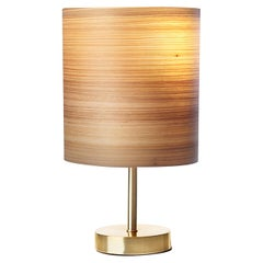 Toric Brushed Brass Table Lamp with Cypress Wood Shade