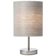 Toric Table Lamp Gray Tay Wood Shade and Brushed Satin Nickle Stand