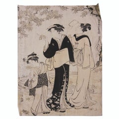 Beauties under a Maple Tree Japanese Woodblock Print
