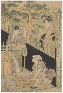 Kiyonaga Torii, Beauty, Kimono, Ukiyo-e, Original Japanese Woodblock Print, Edo