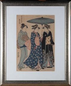 Torii Kiyonaga (1752–1815) - c. 1788 Japanese Woodblock, Geisha Strolling