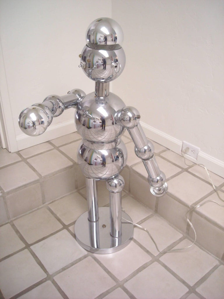 Modern Torino Large Robot Chrome Lamp, Sculpture For Sale