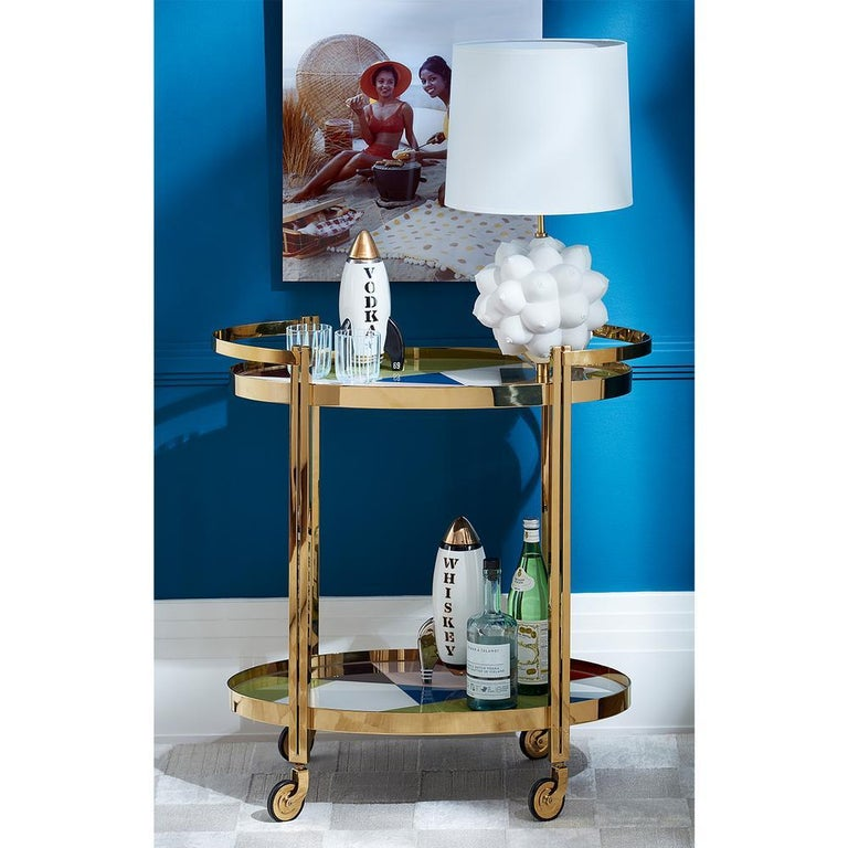 Modern Torino Pieced Glass and Brass Bar Cart For Sale