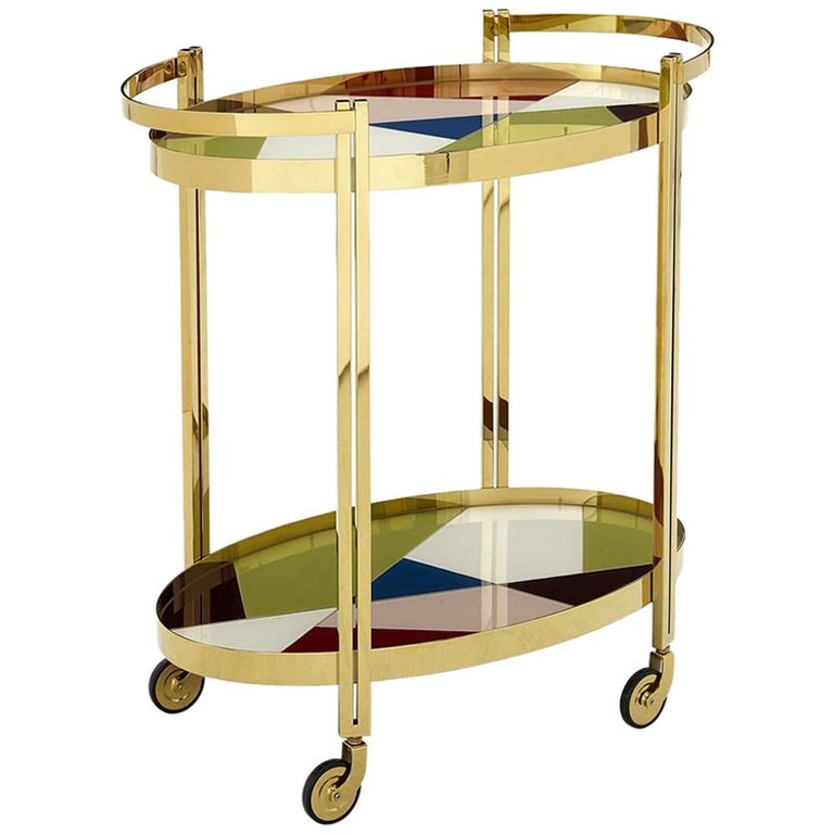 Torino Pieced Glass and Brass Bar Cart For Sale