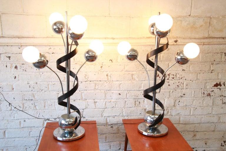 American Torino Style Mid-Century Modern Chrome Sputnik Corkscrew Table Lamps, Pair For Sale