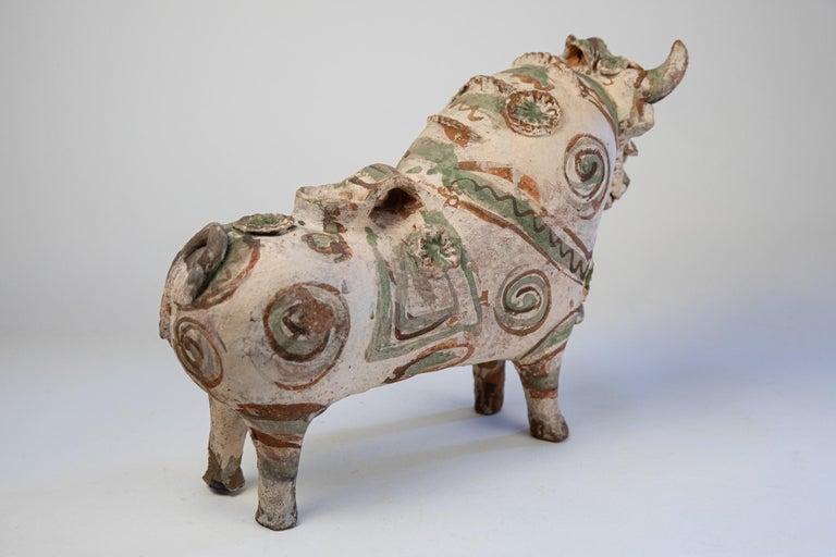 Torito de Pucara Antique Painted Terra Cotta Pottery Peruvian Bull Sculpture For Sale 10