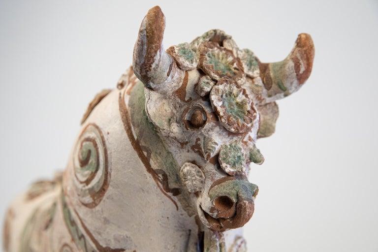 Torito de Pucara Antique Painted Terra Cotta Pottery Peruvian Bull Sculpture For Sale 13