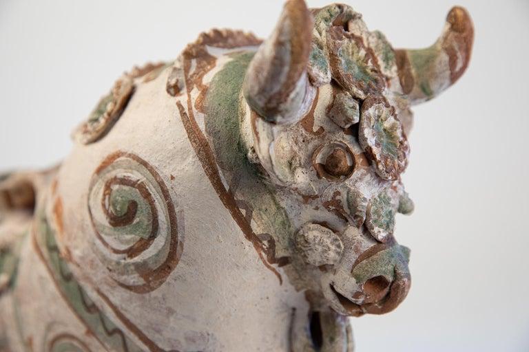 Folk Art Torito de Pucara Antique Painted Terra Cotta Pottery Peruvian Bull Sculpture For Sale