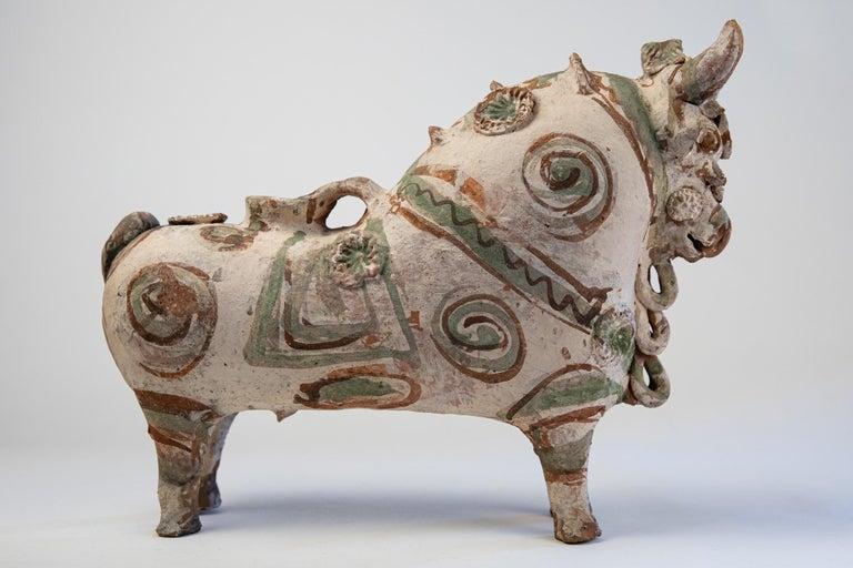 20th Century Torito de Pucara Antique Painted Terra Cotta Pottery Peruvian Bull Sculpture For Sale