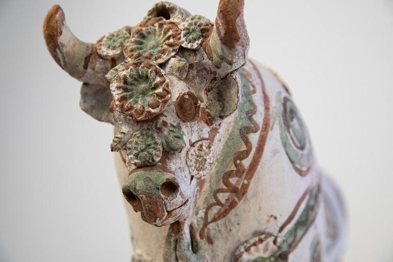 Ceramic Torito de Pucara Antique Painted Terra Cotta Pottery Peruvian Bull Sculpture For Sale