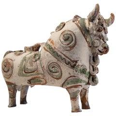 Torito de Pucara Antique Painted Terra Cotta Pottery Peruvian Bull Sculpture