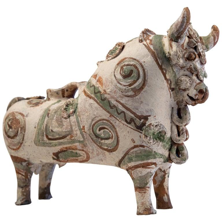 Torito de Pucara Antique Painted Terra Cotta Pottery Peruvian Bull Sculpture For Sale