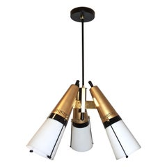 Mid-Century Modern Italian Vintage Brass Black White Three-Light Cone Chandelier