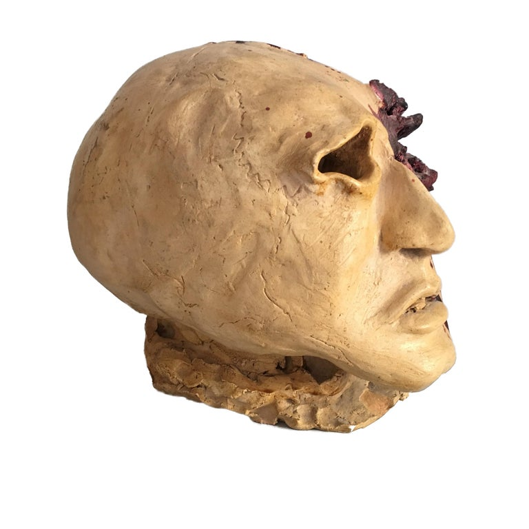 Italian Torn Human Head Sculpture in Brutalist Style Signed E.D. 71 For Sale