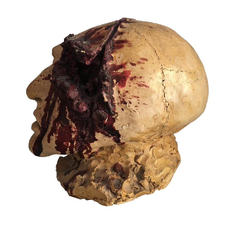 Torn Human Head Sculpture in Brutalist Style Signed E.D. 71 In Good Condition For Sale In Rome, IT