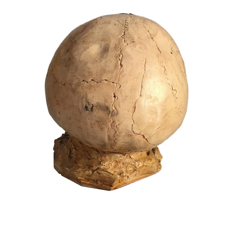Late 20th Century Torn Human Head Sculpture in Brutalist Style Signed E.D. 71 For Sale