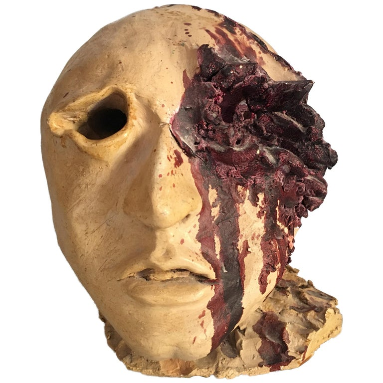 Torn Human Head Sculpture in Brutalist Style Signed E.D. 71 For Sale