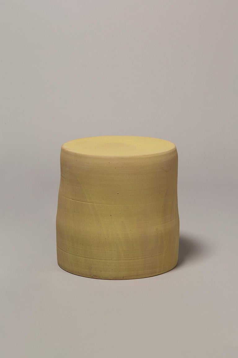 Hand thrown stoneware side table with four layers of glaze in multiple fires 1290Cº. Measures: 350mm high, 350mm diameter.