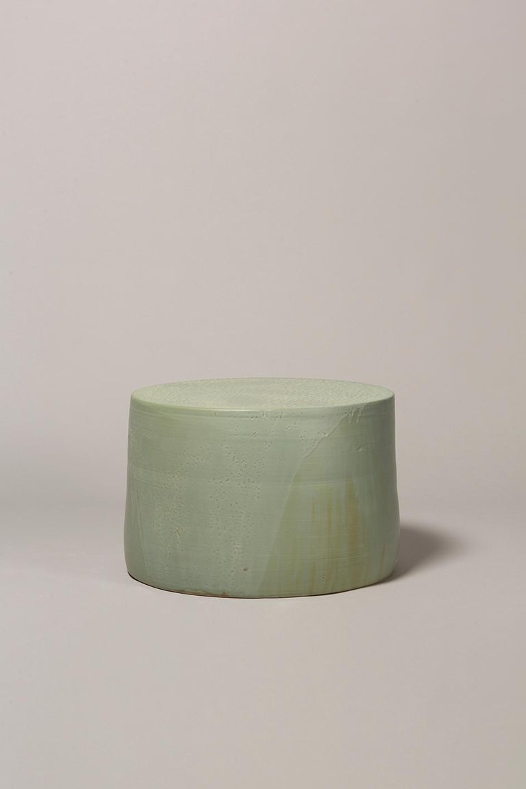Hand thrown stoneware side table with two layers of glaze in multiple fires 1290Cº. Measures: 350mm high, 500mm diameter.