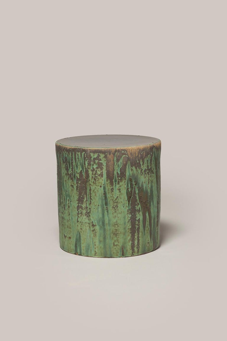 Hand-Crafted Torn Side Table LA Green Gray 640 For Sale