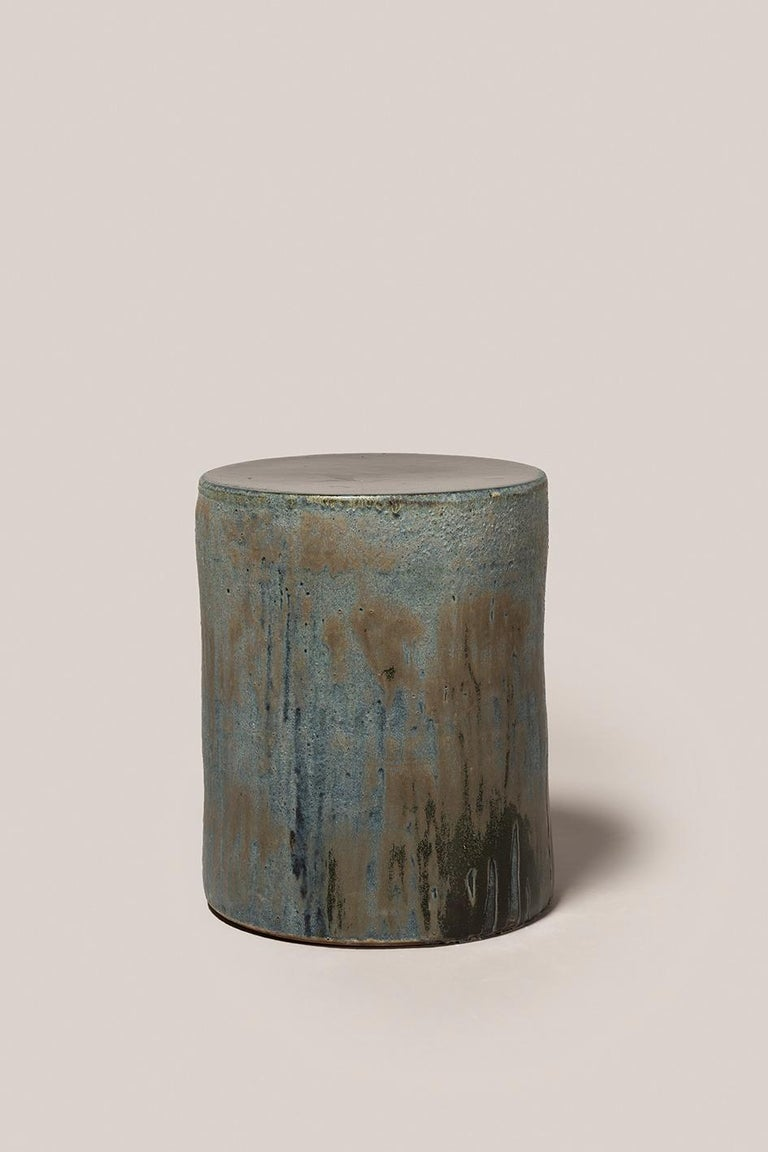 Hand-Crafted Torn Side Table LA Turquoise Gray 636 For Sale