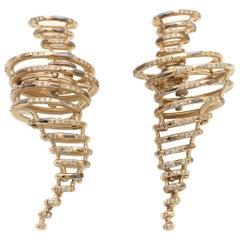 18K White Gold Brown Diamond Tornado Earrings